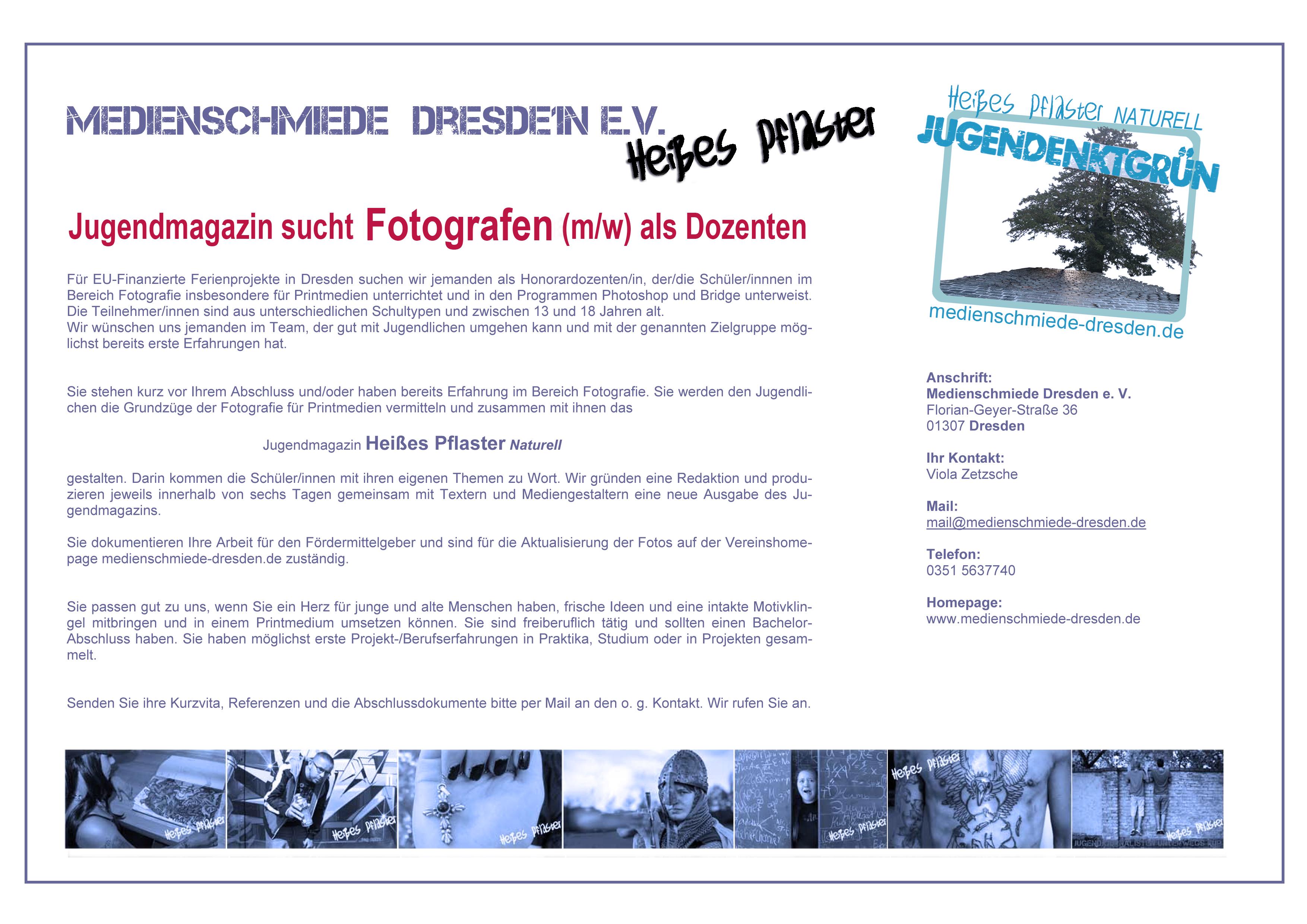 Stellenausschreibung_Fotograf_Medienschmiede Dresden e. V_Ferienangebot
